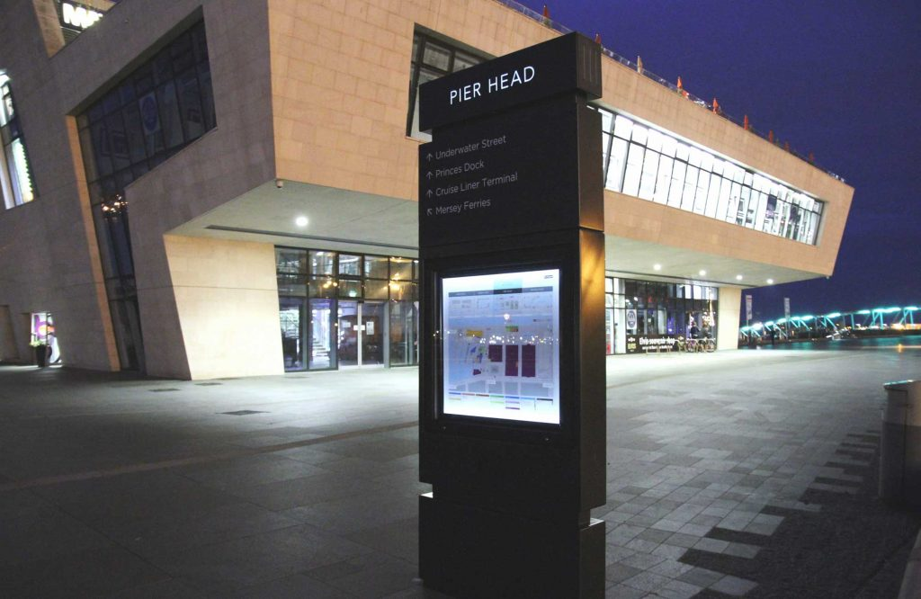 Zeta Bespoke Solar Signage Kit at the Pier Head, Liverpool 2 Sided Monolith
