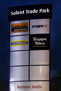Zeta Bespoke Solar Signage Kit at Solent Trade Park night portrait