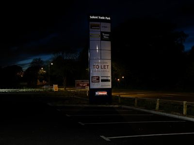 Zeta Bespoke Solar Signage Kit at Solent Trade Park night landscape