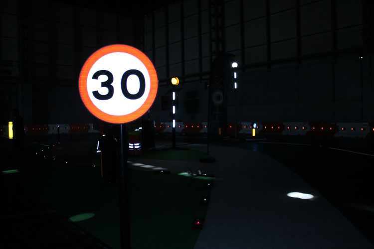 Zeta LED Road Sign at Traffex front view landscape