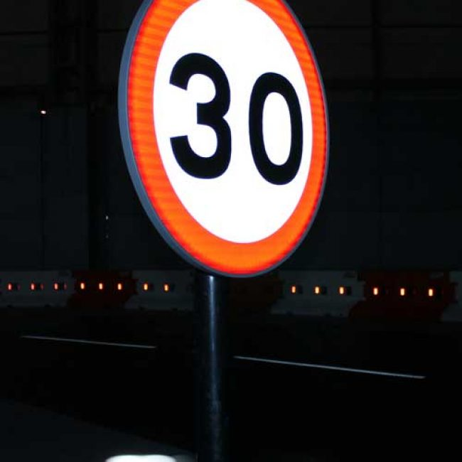 Zeta LED Road Sign at Traffex side view portrait