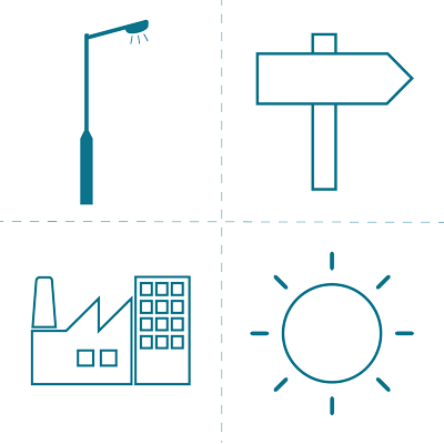 Sector icons blue small