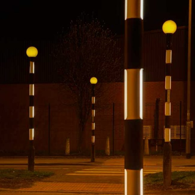 Zeta LED Belisha Pole Illumination Kit in Leeds 4 poles close up
