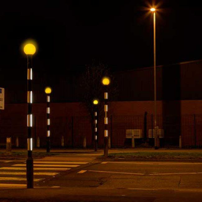 Zeta LED Belisha Pole Illumination Kit in Leeds 4 poles landscape
