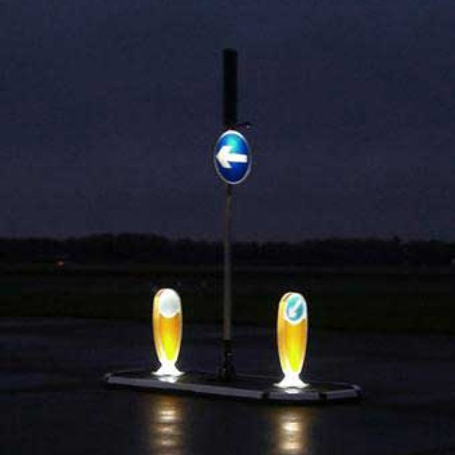 Zeta LED Bollard Uplighter lit x2 with Lighting Arm & Road Sign