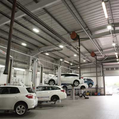 Zeta PRO LED Flood Lights at Vantage Toyota, Preston warehouse square