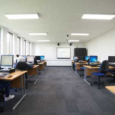 Zeta PRO Ultra Slim Ceiling Panels at Banbury College Classroom square