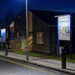 Zeta's ECOLUX SOLAR trough lighting system illuminates a new wayfinding system at Lynfield Mount Hospital in Bradford.