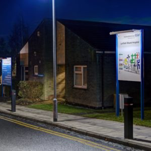 Zeta's ECOLUX SOLAR trough lighting system illuminates a new wayfinding system at Lynfield Mount Hospital in Bradford.